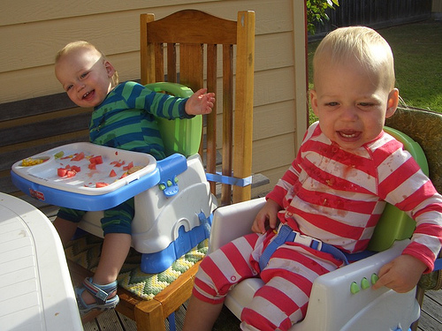 Messy eating – outdoors fortunately!