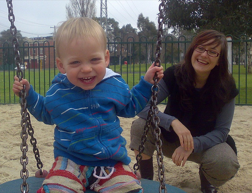Cedar and mom at the park today.And finally, for the main attraction.. Box Racing!: